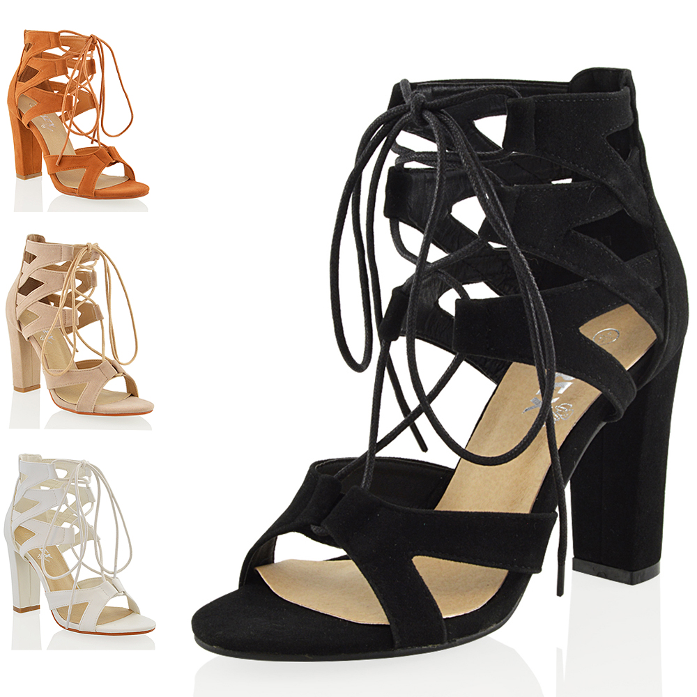 1d0ab09bdf7 Details about Womens Lace Up Sandals Block Mid High Heel Ladies Chunky Cut  Out Shoes