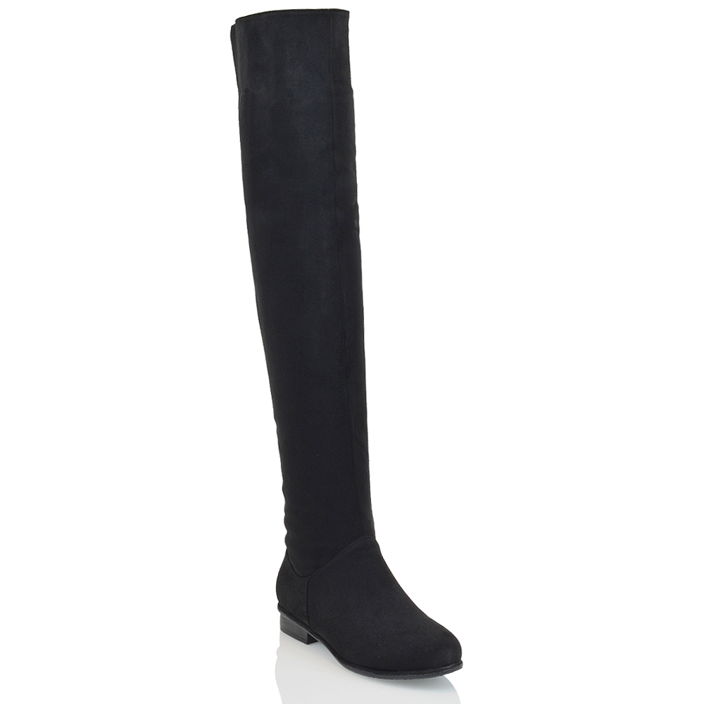 1f88aa0d5 WOMEN'S OVER THE KNEE HIGH FLAT LADIES LONG FAUX SUEDE THIGH HIGH BOOTS  SIZE 3-8. X. X. X. X. X. X. Click on the Image to Enlarge