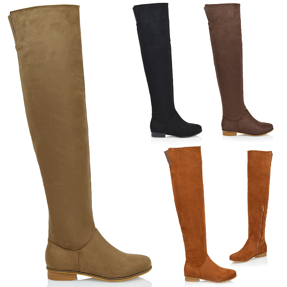 60a6debe7 WOMEN'S OVER THE KNEE HIGH FLAT LADIES LONG FAUX SUEDE THIGH HIGH BOOTS  SIZE 3-8