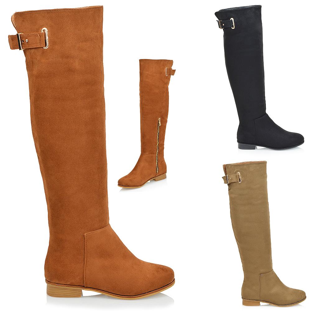 new womens knee high flat heel gold buckle zip