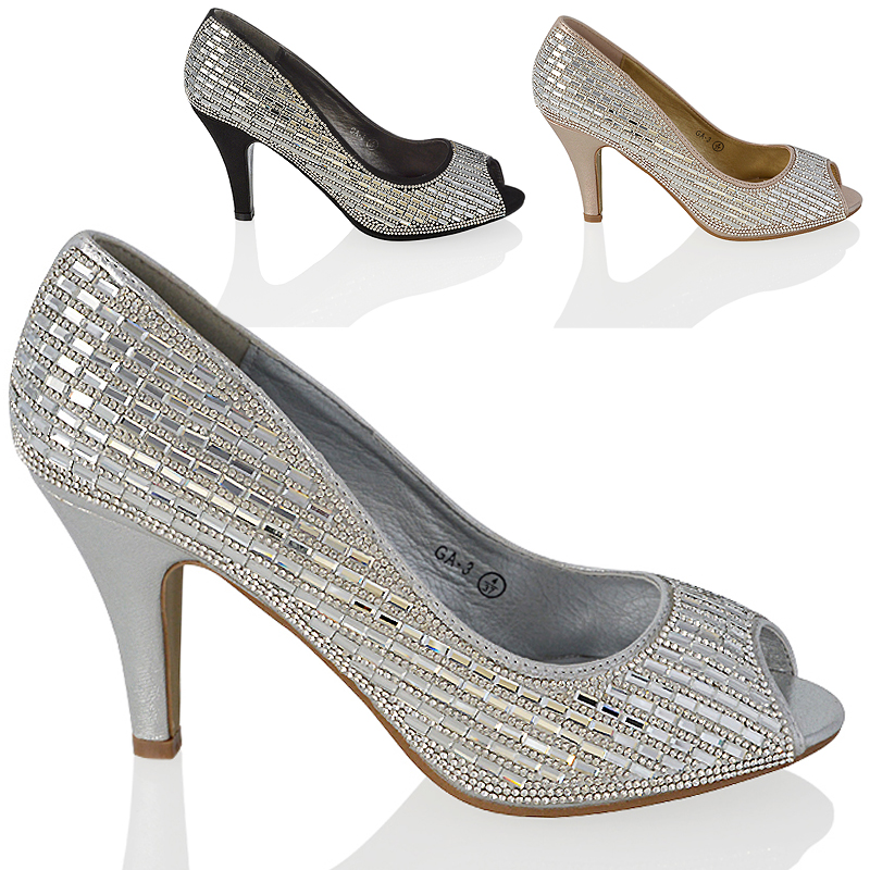 womens diamante peep toe dressy sparkly prom