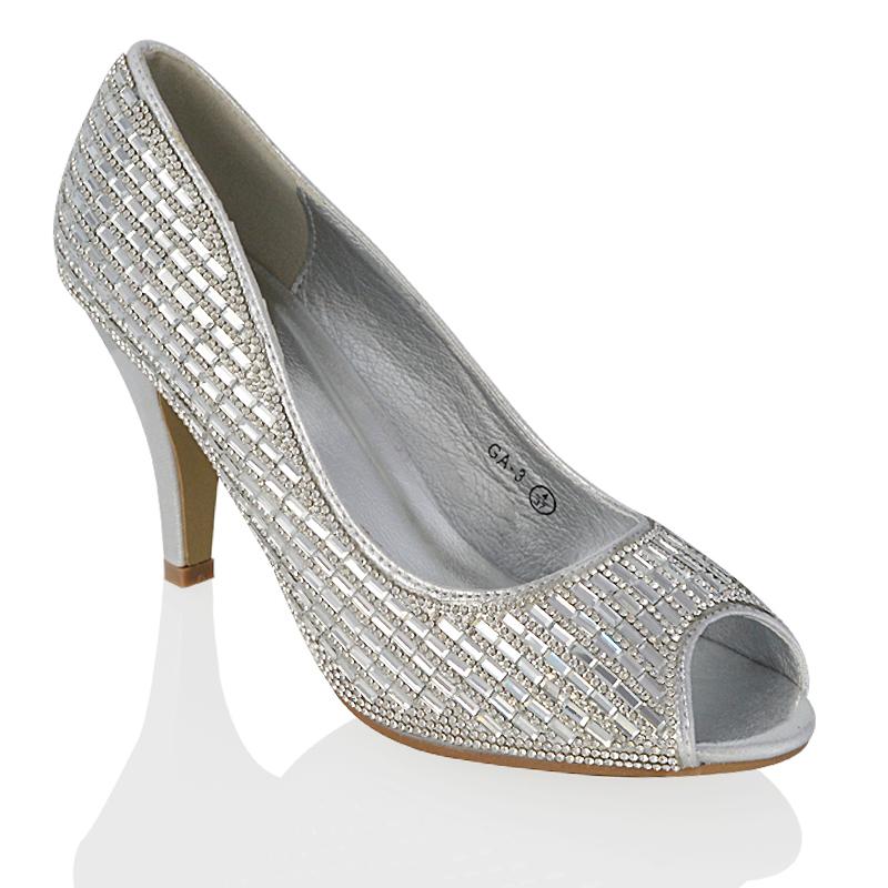 3fc16281f05 ... Womens Low Heel Peep Toe Diamante Sandals Shoes Prom Bridal Bridesmaid  Wedding.jpg · GA-3 Silver Satin 1.jpg ...