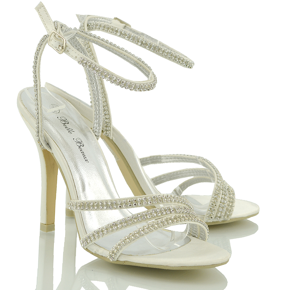 22f057732 New Women s Ladies Mid High Heel Stiletto Strappy Party Bridal Sandals  Shoes Size 3 4 5 6 7 8