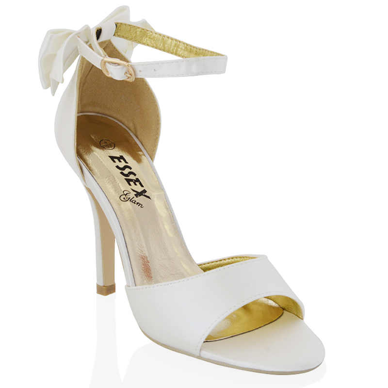 95389d5609b9f WOMENS stiletto heel ankle strap ladies white ivory silver bridal peep toe  sandals shoes