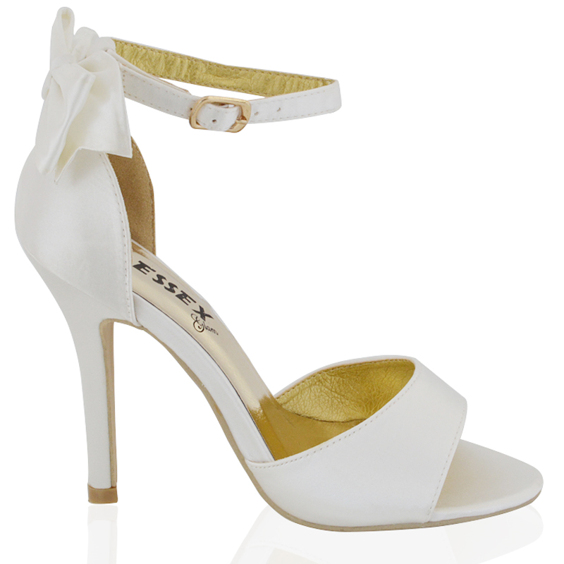 Bridal Shoes Usa: WOMENS STILETTO HEEL ANKLE STRAP LADIES WHITE IVORY BRIDAL