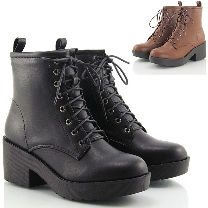 LADIES LACE UP WOMENS RETRO VINTAGE COMBAT GOTH PUNK ANKLE BOOTS ...
