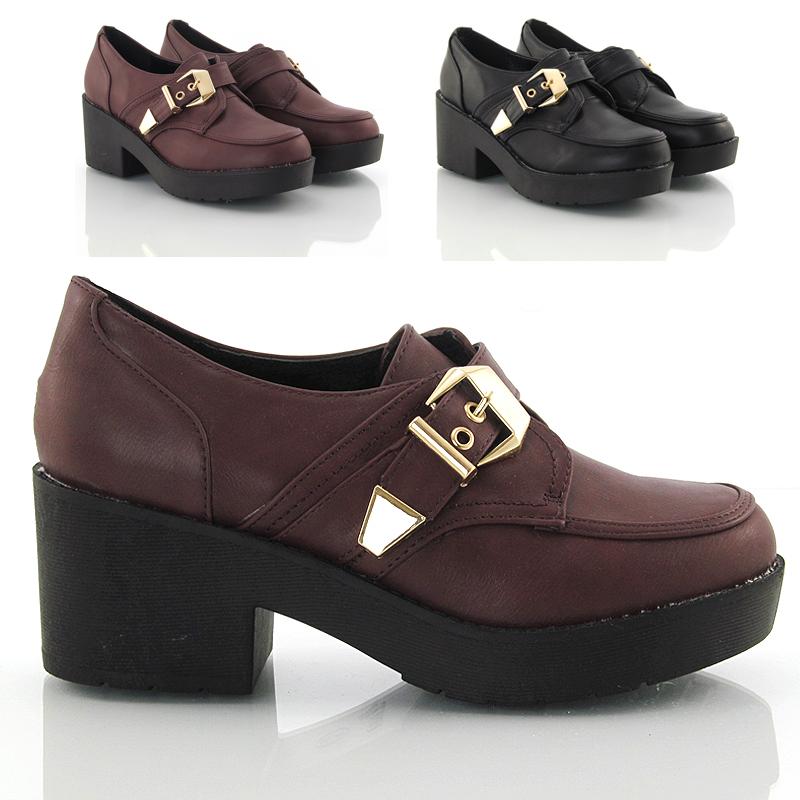 Round Toe Burgundy Mid Heel Shoes
