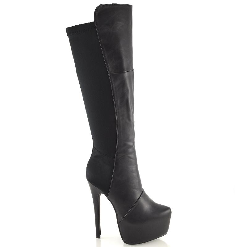 Ladies Knee High Heel Platform Boots Womens Stiletto ...