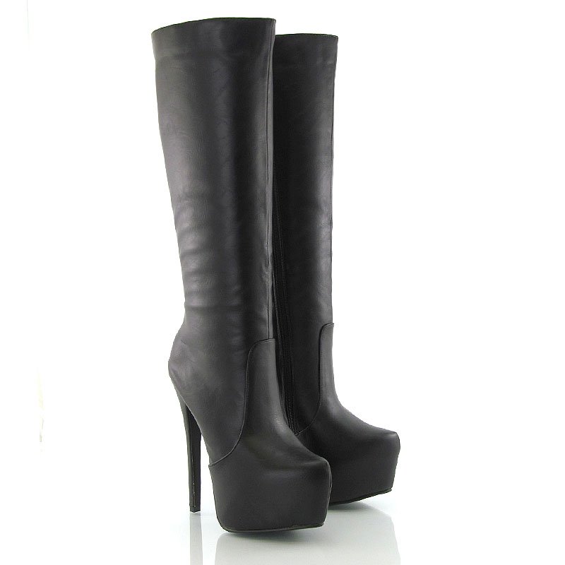 high heel womens knee high platform boots zip
