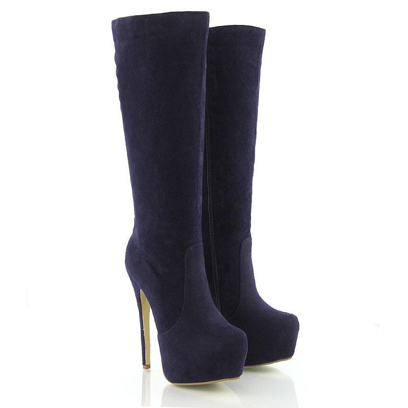 high heel womens knee high platform boots zip