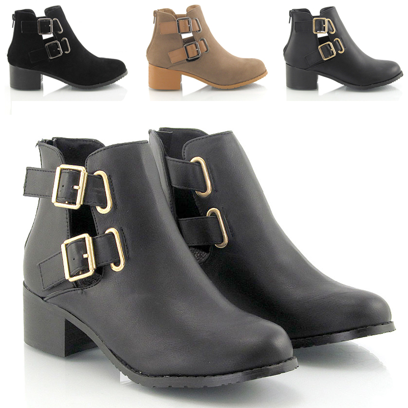 New Womens Chelsea Cut Out Buckle Boots Ladies Block Low Heel ...