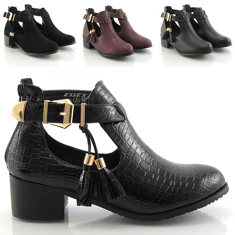 womens cut out shoes buckle flat low heel chelsea