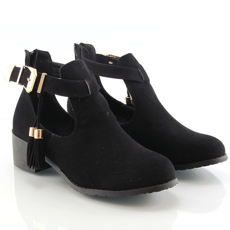 WOMENS CHELSEA FLAT HEEL BIKER CUT OUT GOLD BUCKLE ANKLE SHOES ...