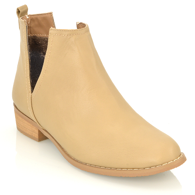 Tan Ankle Shoe With White Sole Ladies