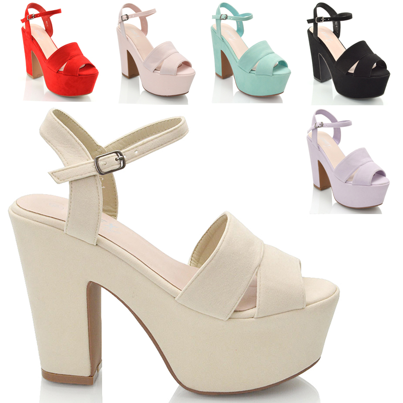 WOMENS HIGH HEEL CHUNKY SOLE CUT OUT STRAPPY PLATFORM LADIES WEDGE ...