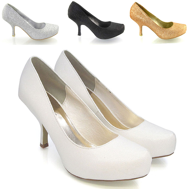 WOMENS HIGH BLOCK HEEL WEDDING BRIDAL PUMPS LADIES PARTY PROM COURT SHOES SIZE