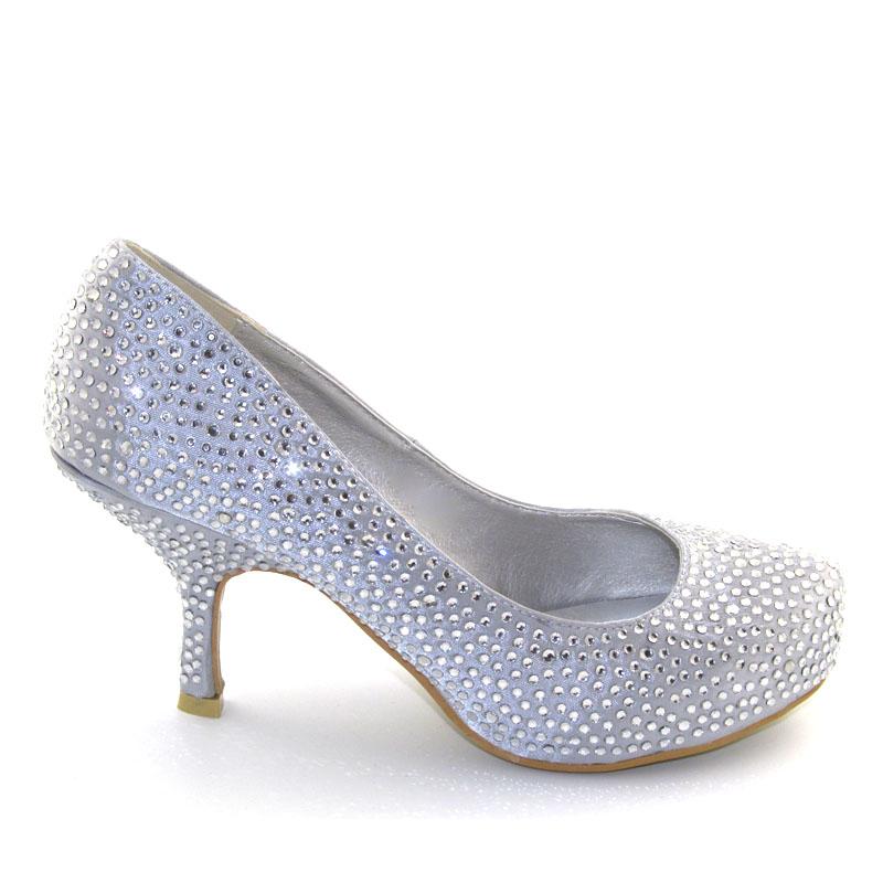 satin diamante womens kitten mid platform bridal