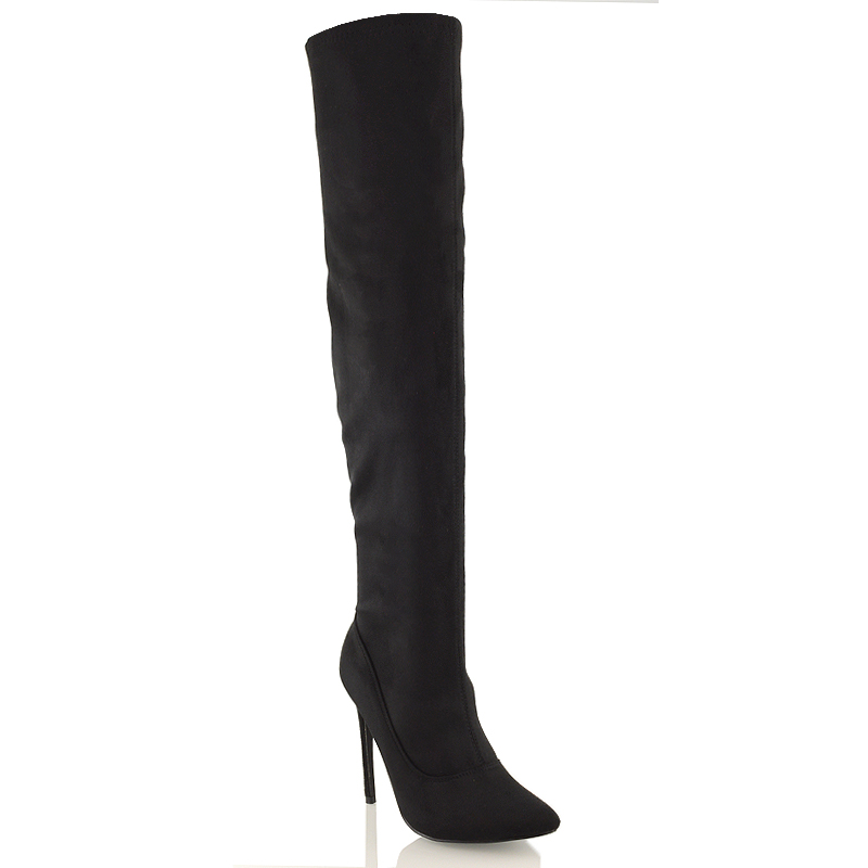 e5b87be37a13 Womens Over The Knee Thigh High Stiletto Heel Ladies Stretch Calf Leg Boots  Size