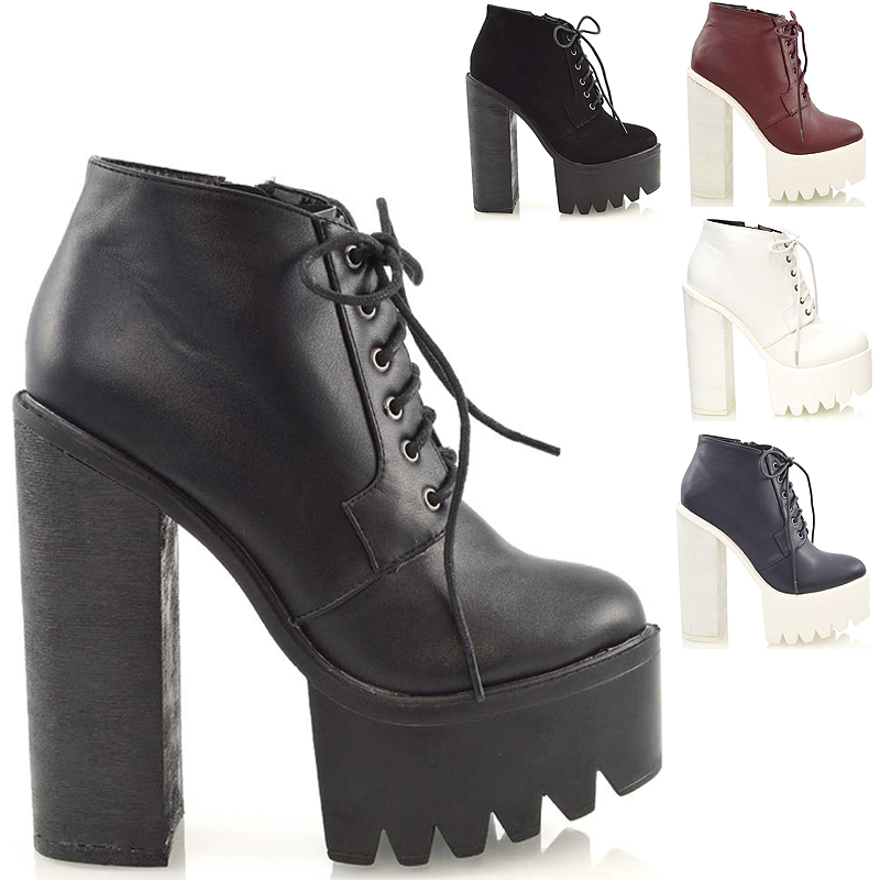chunky high heel cleated sole womens platform ankle