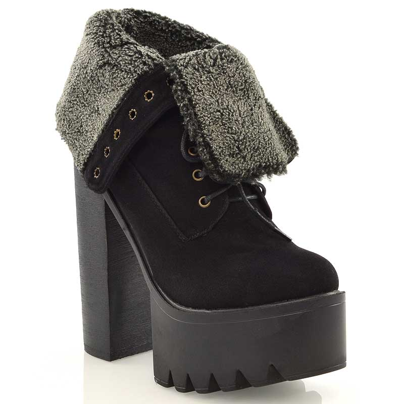 cleated sole platform womens lace up fur chunky