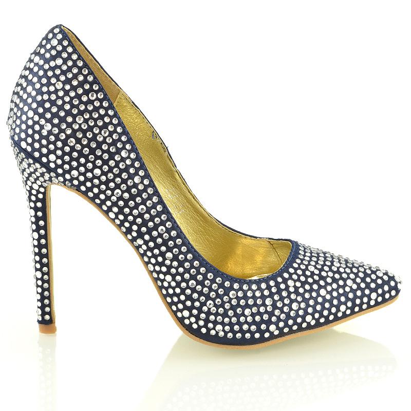 womens stiletto high heel diamante satin bridal prom party. Black Bedroom Furniture Sets. Home Design Ideas