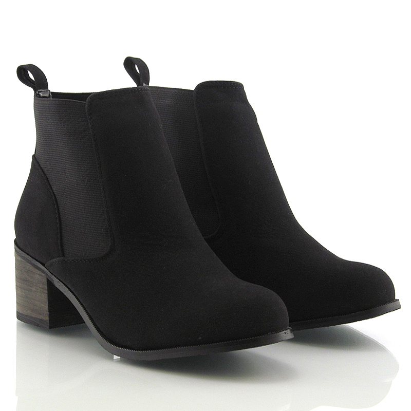 Black Ankle Boots With Low Heel - Yu Boots
