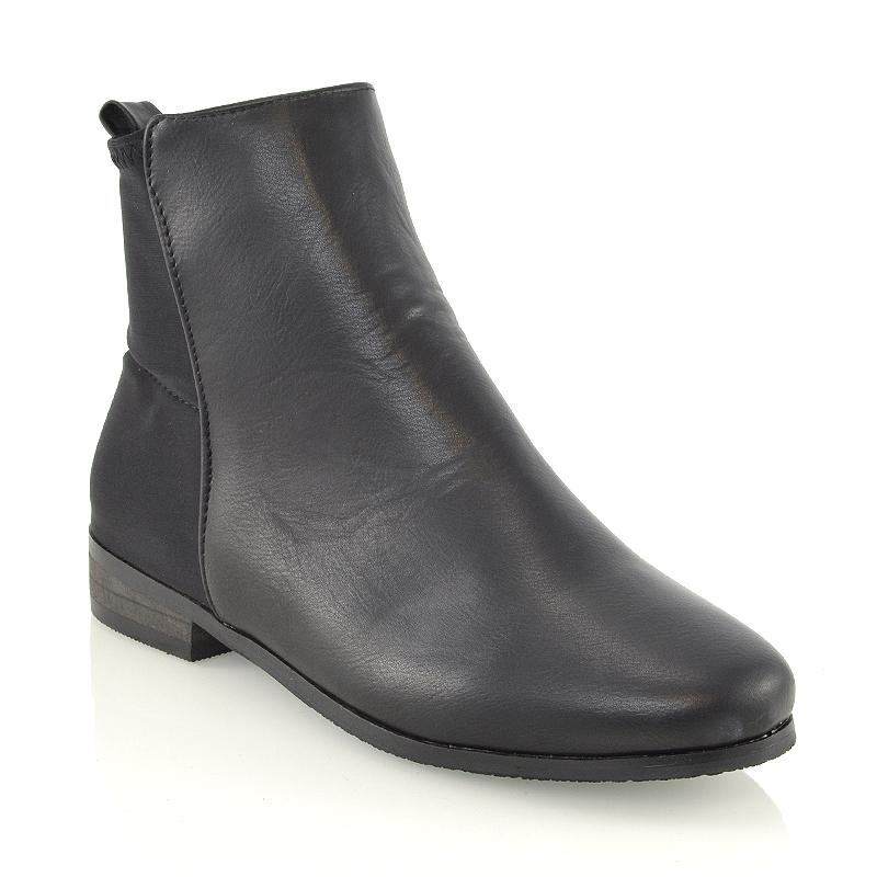 womens pull on chelsea flat heel elastic stretch booties