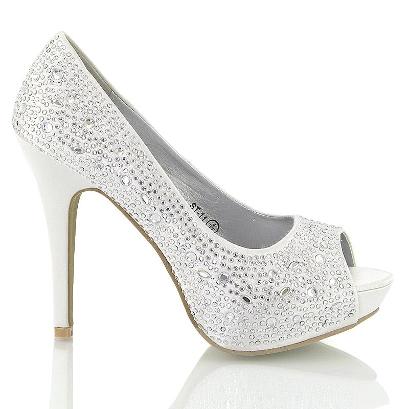... ST-11 Ladies Womens White Satin diamante sparkly wedding bridal platform  heel shoes sandals party prom shoes.jpg ... 407a15f55