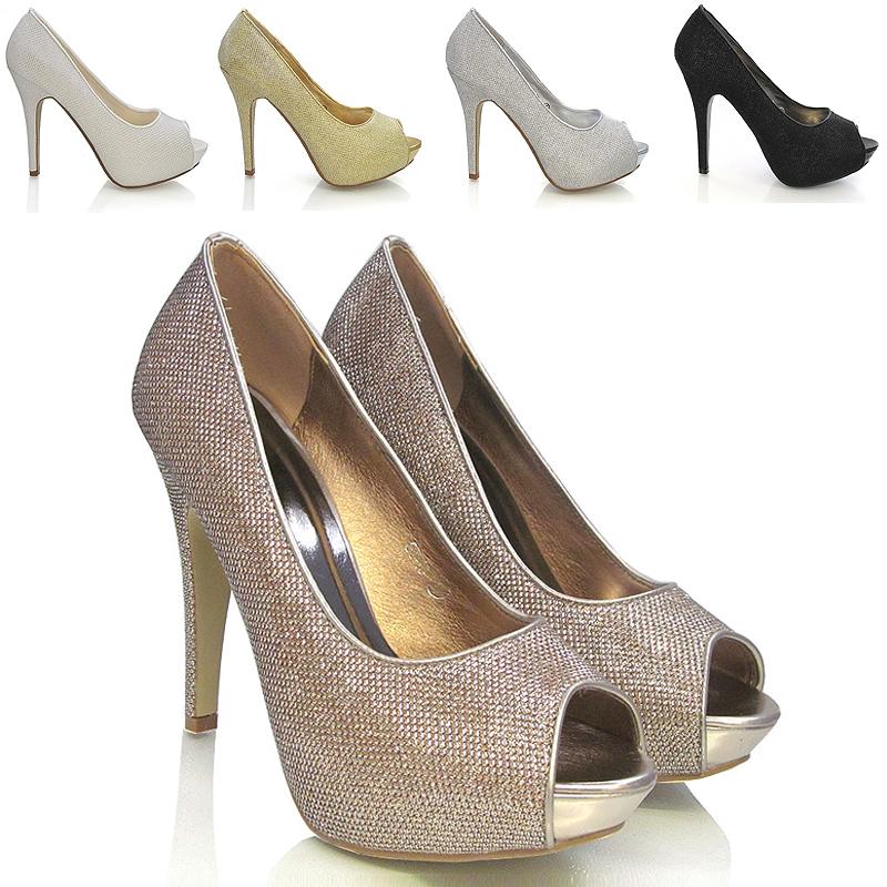 St 13 All Sole Womens Las Platforms High Heel Shoes P Toe Glitter Material Black Silver White Bronze Bridal Wedding 3 4 5 6 7 8 Jpg