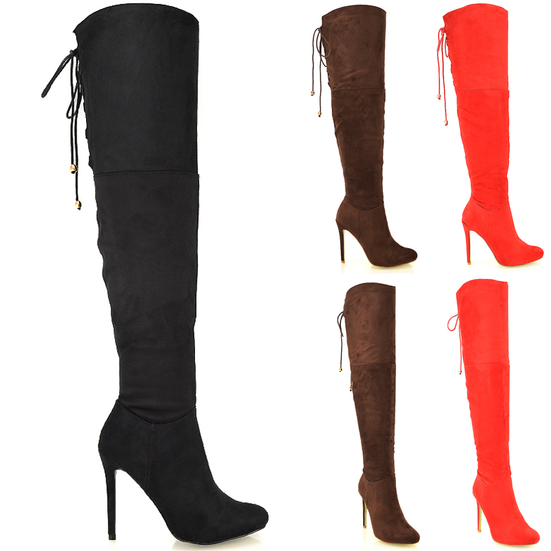 6f48c347368 Details about Womens Over The Knee Thigh High Sexy Stiletto Heel Biker  Ladies Boots Size