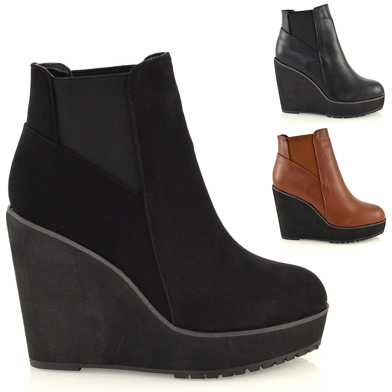 Leather Wedge Heel Boots