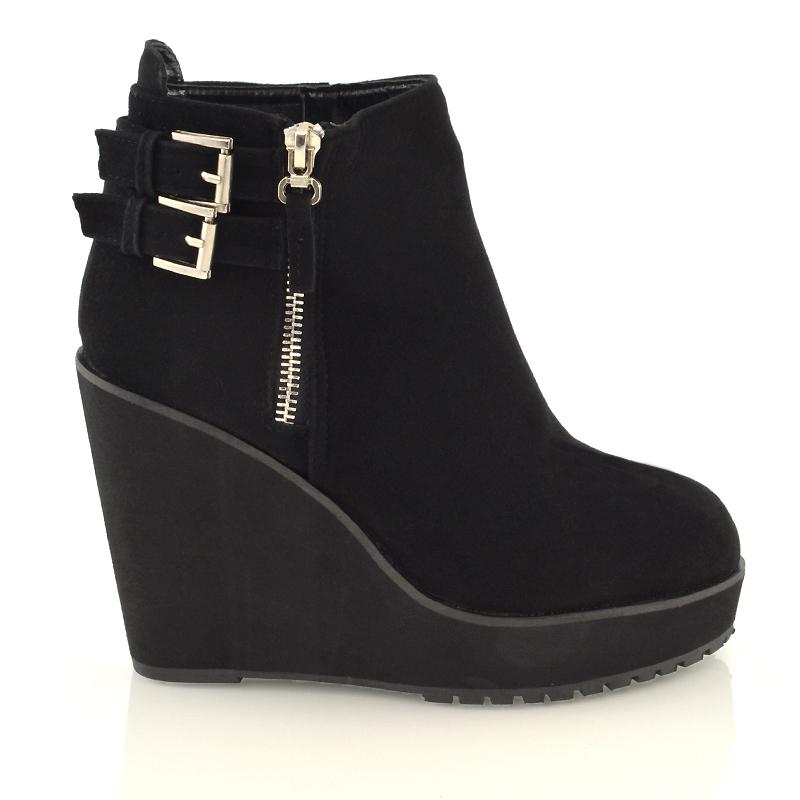 womens wedge heel chunky platform cleated black